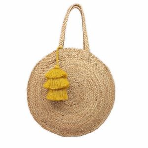 Woven Tote with Yellow Tassel Accent